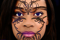Beaded Henna Art on Beautiful Woman Face Royalty Free Stock Images