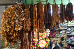 Beaded malas. In the streets of delhi royalty free stock photography