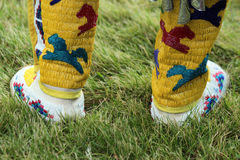 Beaded Moccasins - Powwow. A closeup of Native American beaded moccasins during Powwow festivities royalty free stock photography