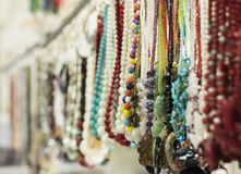 Beaded Necklace. The colorful beaded necklace hang on the rack royalty free stock photo