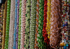 Beaded necklaces. Of multiple forms and colors Stock Photos