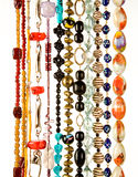 Beaded necklaces fashion composition. On white background Stock Photo