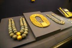 Beaded Necklaces -  King Tutankhamen treasure, Egyptian museum. Cairo, Egypt Jan. 2018 Ancient gold pieces of King Tutankhamen treasure Egyptian museum Stock Photos