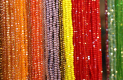 Beaded necklaces for sale at the flea market Royalty Free Stock Photos