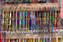 Beaded necklaces for sale at market stall Royalty Free Stock Photo