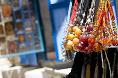 Beaded necklaces in the street market Stock Photo