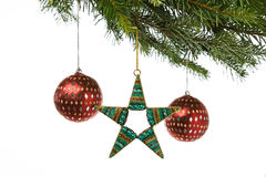 Beaded ornaments hanging from a Xmas tree Royalty Free Stock Photos