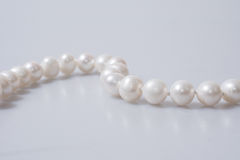 Beaded Pearl Necklace. On White Background Isolated Stock Images