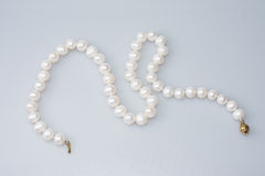 Beaded Pearl Necklace. On White Background Isolated Stock Photography