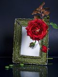 Beaded photoframe and a red flower on black Royalty Free Stock Image