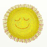 Beaded sun. Painted sun with beading effect isolated on white textured canvas background Royalty Free Stock Photos