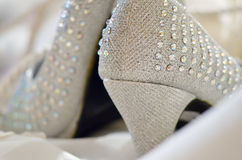Beaded Wedding Shoes Royalty Free Stock Photos