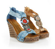 Beaded wedges sandals royalty free stock image
