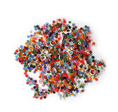 Beading accessories. Glass beads of different colors, lock and other accessories needed to make earrings necklaces and bracelets Royalty Free Stock Image