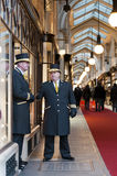 Beadles at Burlington Arcade. LONDON, UK - JANUARY 13: Traditional doormen in front of Burlington Arcade. January 13, 2012 in London. Renewal works have started Royalty Free Stock Photography