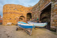 Beadnell Lime Kilns and fishing boats Stock Image