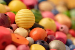 Beads. Colorful wooden beads Royalty Free Stock Photo