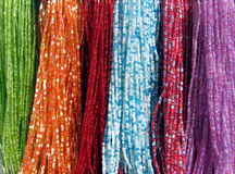 Beads. Strings Of Beads At Public Market Stock Photos