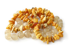 Beads of amber and onyx Royalty Free Stock Image