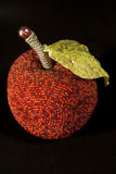 Beads apple. Artificial apple made from red beads and fabric Royalty Free Stock Image