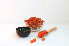 Beads as spices. Glass beads made in the dishes as a spice for cooking Stock Images
