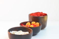 Beads as spices. Glass beads made in the dishes as a spice for cooking Stock Image