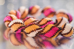 Beads, beadworks on a colored,   accessories Royalty Free Stock Photos