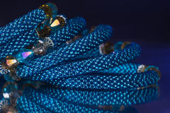 Beads, beadworks on a colored,   accessories Stock Photos