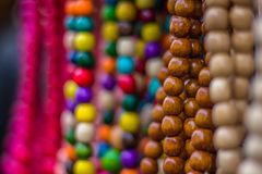 Beads being sold at christmas market. In centre of Prague royalty free stock photo