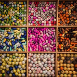 Beads in boxes Royalty Free Stock Images