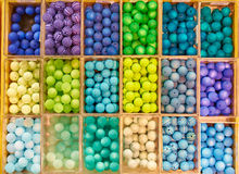 Beads in boxes Royalty Free Stock Photos