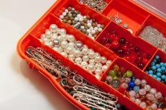 Beads in case handmade kit jewelry Royalty Free Stock Photo