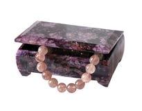 beads casketcharoitkvarts Royaltyfri Foto