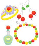 Beads, clips, ring and perfume Royalty Free Stock Images