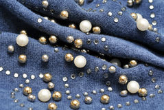 Beads on fabric Royalty Free Stock Images