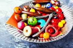 Beads For Needlework In Hand Royalty Free Stock Photos
