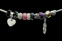 Beads and gems bracelet Royalty Free Stock Images