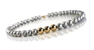Beads of  gray pearls Royalty Free Stock Image