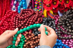 Beads in the hands Royalty Free Stock Photos