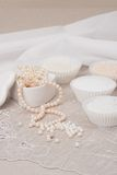 Beads Jewelry On Natural Linen Background. Hand Stock Image