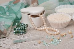 Beads Jewelry On Natural Linen Background. Hand Stock Photo