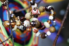 Beads jewelry natural stones abstraction royalty free stock photography
