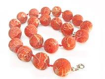 beads korallsmyckenred Arkivfoton