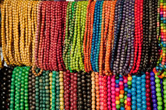 Beads made of wood and painted in different colors Stock Photo