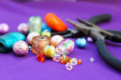 Beads making equipment Royalty Free Stock Photos