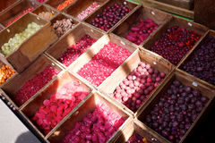 Beads at a market. Crates of beads at an outdoor market Stock Image