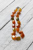 Beads from natural semiprecious stone agate stock photo