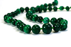Beads, necklace from malachite Stock Photo