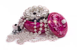 Beads and porcelain containers Stock Photos