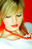 beads red royaltyfri fotografi